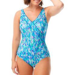 Roxanne Womens Printed Surplice MIO One Piece Swimsuit