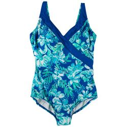 Roxanne Womens Neon Floral One Piece Swimsuit