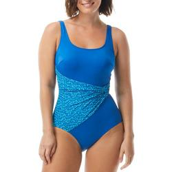 Womens Colorblock Raindrop Sash One Piece Swimsuit
