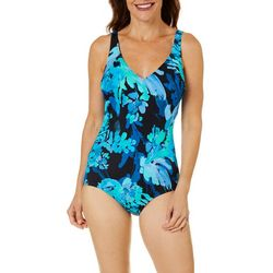 Roxanne Womens Painted Petals V-Neck One Piece Swimsuit