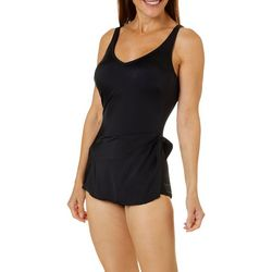 Roxanne Womens Solid Sarong One Piece Swimsuit