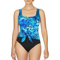 Robby Len Womens Feathered Sash Tie MIO One Piece Swimsuit