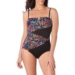 Longitude Womens Bombay Double Drape Bandeau Swimsuit