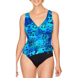 Robby Len Womens Feathered Surplice MIO One Piece Swimsuit