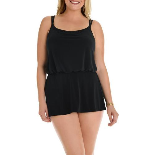 Longitude Plus Size Shirring Chic V-Neck Goddess Swimdress Size 16W Black