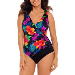 Robby Len Womens Floral Surplice MIO One Piece Swimsuit