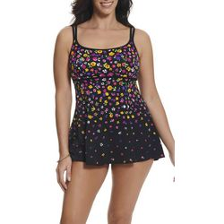 Robby Len Womens Empire Waist Colorful Floral Swimdress