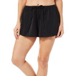 Womens Solid Drape Swim Shorts
