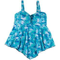 A Shore Fit Womens Blue Watercolor Hankercheif Tankini Top