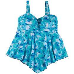 Womens Blue Watercolor Hankercheif Tankini Top