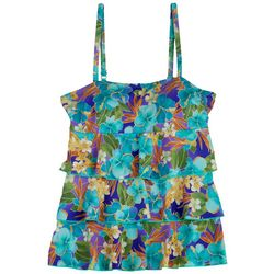 A Shore Fit Womens Hibiscus Triple Tier Tankini Top
