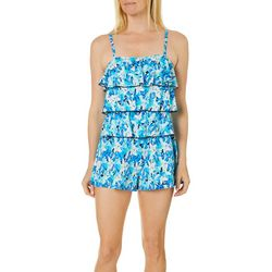 A Shore Fit Womens Floral Triple Tier Swim Romper