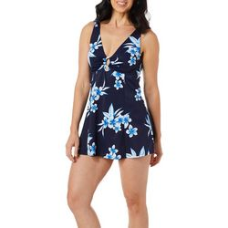 A Shore Fit Womens Ring Detail Hawaiin Floral Swimdress