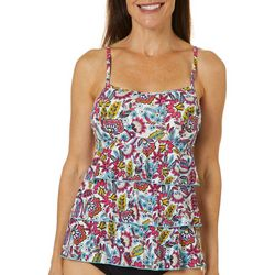 A Shore Fit Womens Funky Floral Triple Tier Tankini Top