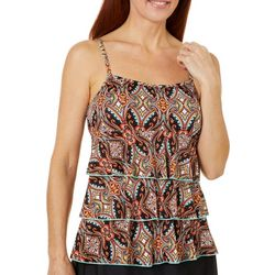 A Shore Fit Womens Paisley Floral Triple Tier Tankini Top