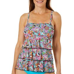 A Shore Fit Womens Paisley Triple Tier Tankini Top