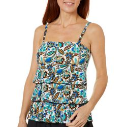 A Shore Fit Womens Floral Paisley Triple Tier Tankini Top