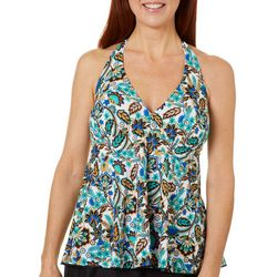 A Shore Fit Womens Floral Banded V-Neck Halter Tankini Top