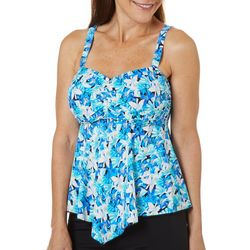 A Shore Fit Womens Cool Floral Print Hankercheif Tankini Top