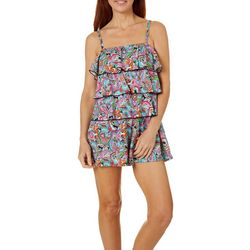 A Shore Fit Womens Paisley Print Triple Tier Romper Swimsuit
