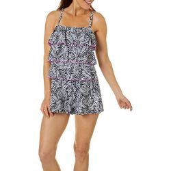 A Shore Fit Plus Leaf Print Triple Tier Romper Swimsuit