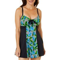 Womens Tropical Colorblocked One Piece Swimsuit
