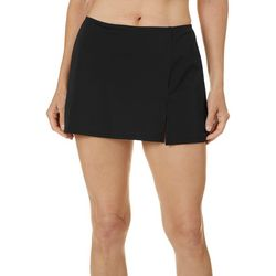 A Shore Fit Womens Solid 13 Inch Slitted Swim Skirt