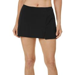 Womens Solid 13 Inch Slitted Swim Skirt