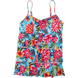 A Shore Fit Womens Tropical Floral Tiered Tankini Top