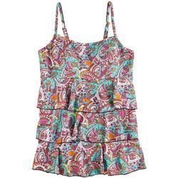A Shore Fit Womens Colorful Paisley Triple Tier Tankini Top