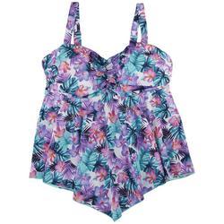 Womens Tropical Floral Hankercheif Tankini Top