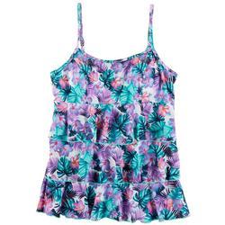 Womens Tropical Floral Triple Tier Tankini Top