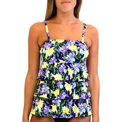Womens Floral Triple Tier Tankini Top