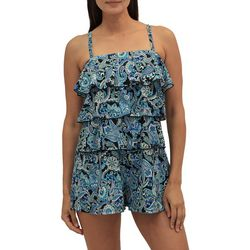 A Shore Fit Womens Cool Paisley Triple Tier Romper Swimsuit