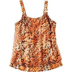 Del Raya Womens Animal Printed Mesh Overlay Tankini Top