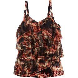 Del Raya Swimwear Plus Leaf Print Tiered Mesh Tankini