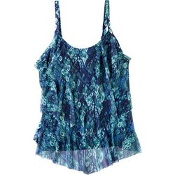 Del Raya Womens Diamond Triple Tier Mesh Overlay Tankini