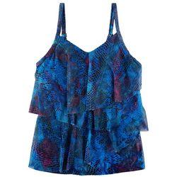 Del Raya Swimwear Womens Blue Snake Tiered Tankini Top