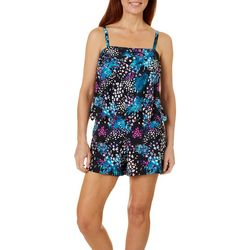 Del Raya Womens Midnight Jungle Romper Swimdress