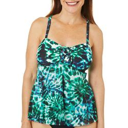 Del Raya Womens Center Lace Up Tie Front Tankini Top