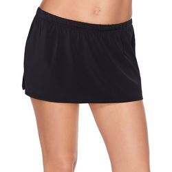 Womens Tummy Control Solid Swim Skirt