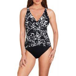 Trimshaper Womens Waterlily Surplice One Piece Swimsuit