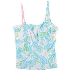 Stella Parker Womens Asymmetrical Tropic Swim Top