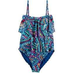 Womens Tiered Paisley One Peice Swimsuit