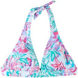 Stella Parker Womens Floral Halter Bralette Swim Top