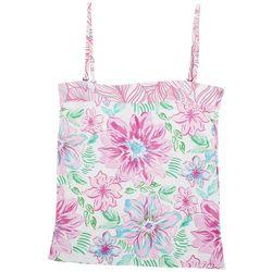 Stella Parker Womens Tropical Floral Bandeau Swim Top