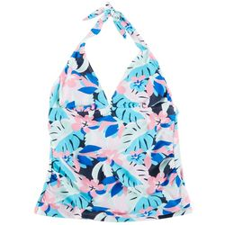 Stella Parker Womens Abstract Floral Halter Swim Top