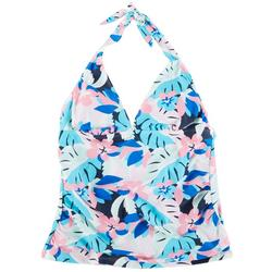 Womens Abstract Floral Halter Swim Top