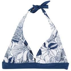 Womens Linear Floral Halter Swim Top