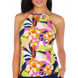 Womens Abstract Floral High Neck Tankini Top